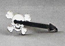 Metal Enamel Pin Badge Brooch Guitar Skull Acustic Guitarist Band Play Musician
