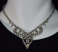 VTG Silver Tone Clear White Rhinestone CZ Pendant Art Deco Necklace Choker E
