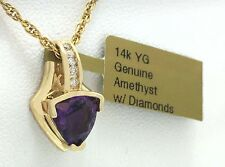 GENUINE 1.27 Cts AMETHYST & DIAMONDS 14k YELLOW GOLD PENDANT *FREE Shipping*