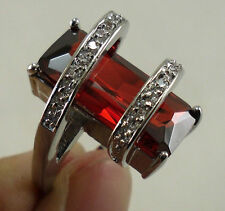 """Romance Ring Pyramid w/ 7.5ct Ruby & Crystal 14kt size 8,  5 1/2"""" high"""
