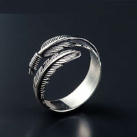 Unisex Vintage Style Silver Feather Ring - Open Adjustable Size - UK Seller