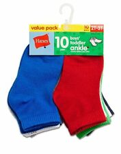 Hanes Boys' Toddler Infant Ankle 10-Pack 27/10 Assorted Colors size 4T-6 month
