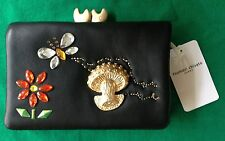 """tsumori chisato """"carry"""" series Flower, Butterfly, Mushroom Wallet Black Leather"""