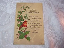 A HAPPY NEW YEAR ANTIQUE 1916 POSTCARD  WITH SONG BIRD AND HOLLY   T*