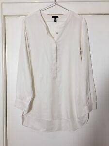 Jessica Simpson Ladies White Blouse Top Size L Long Sleeve