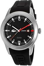 New Lacoste Advantage Black Silicone Date Men Dress Watch 43mm 2010628 $175