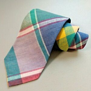 "VTG Ferrell Reed 100% Cotton Plaid Check Handmade Blue Pink Green 3 3/4"" Wide"