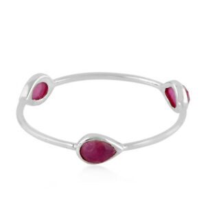Women Sale 0.75 Natural Ruby Three Stone Ring 14k White Gold Jewelry