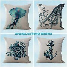 US SELLER, 4pcs cushion pillow cover cushion covers turtle octopus fish nautical