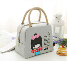 Portable Insulated Picnic Travel Lunch Food Storage Tote Bag Holder Beige
