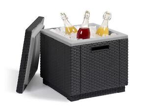 Getränkekühler Allibert Kühlkiste Kühlnox 24h Kälte Rattanoptik Ice Cube Kühler