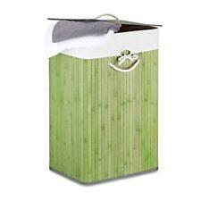 Relaxdays cesto para ropa sucia plegable con tapa Bambú verde 33.5x43.5x65.