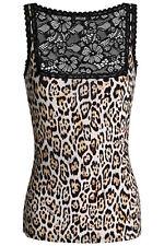 JUST CAVALLI UNDERWEAR Vest Top Size 46 / XL Jaguar Print Front Floral Lace Back