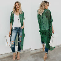 Womens Floral Kimono Cardigan Duster Long Wrap Shawl Boho Loose Tops Coat Blouse