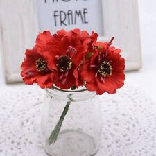 6Pcs Red Poppy Flowers Artificial Bouquet Wedding Craft Album Floral Home Decor