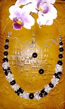 Handmade black agate onyx and clear quartz chips jewellery set