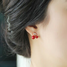 Korean Style Earing fashion jewelry Lovely Red Crystal Small Cherry Stud Earring