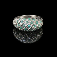 Natural Colombian Emerald Ring 925 Sterling Silver Luxurious Sparkling Gemstones
