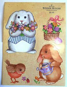 Hallmark Easter Window Cling Hugger Bunny Rabbits Birds Squirrel Vintage 1980s