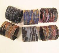 6 PC Handmade Bali Beaded Darker Color Block Tribal Cuff Bracelet WHOLESALE LOT