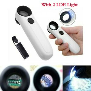 40X Magnifying Glass LED Light Handheld Magnifier Reading Lens Jewelry Loupe