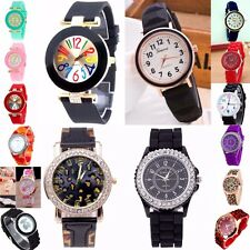 Women,Men Soft Rubber Strap Steel Case Wrist Watch with Numbers Analog Quartz