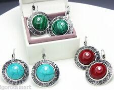 Vintage Tibetan Silver Big Stud Earrings Blue Red Green Stone Leverback Earring