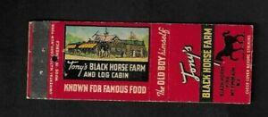 1940's Mt. Ephraim,,NJ - Tony's Black Horse Farm Advertising Matchcover