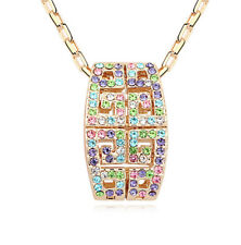 18K Rose Gold Plated Made with Swarovski Elements Multi Colour Wave Necklace