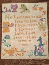 Vtg Handmade Cross Stitch Sampler Baby Child Nursery Animals w/ Prayer