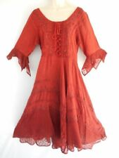 Batik Embroidered Lace Smock 3/4 Sleeve Boho Peasant Gypsy Casual Dress Burgundy