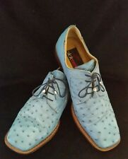 Slick Exotica Men's 100% Blue Genuine Ostrich Leather Dress Shoes Size 11