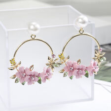 Cherry Blossom Flower Big Circle Hoop Earring Pearl Earring For Women Party Gift
