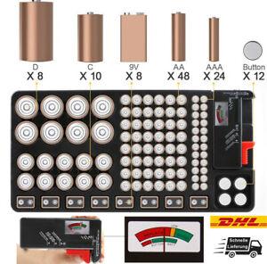 Battery Organizer Aufbewahrungsbox Batteriehalter mit Tester für 110 Batterien