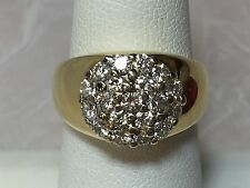 LEO PIZZO 18K YG .95 TCW G/H-SI1/SI2 RBC PAVE SET CLUSTER DIAMOND RING SIZE 6.25