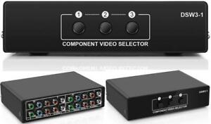 3 In - 1 Out Component Switch Box RGB Switcher YPbPr Video Audio DVD HDTV SetTop