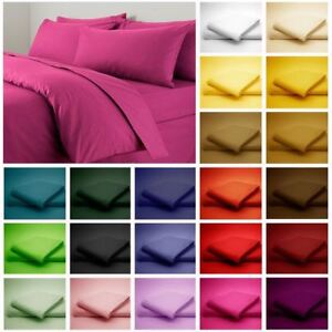 Fitted Sheet Duvet Covers Plain Polycotton Printed PillowCases Soft