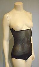 Black Silver Glitter Mesh Body Stocking, Belly Dance, Costume Brief/Small