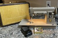 Singer 301A Vintage Slant Sewing Machine Case Foot Pedal Accessories Tested Used
