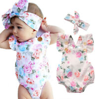 Newborn Infant Baby Girl Floral Bodysuit Romper Jumpsuit Clothes Outfit Sunsuit