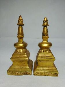 A Pair of early 20th Century Golden Bronze Stupas Namgyal Stupa Tibet Buddhism