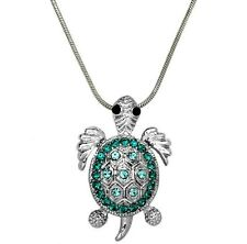 """Aqua Blue Crystal Sea Turtle Necklace 17"""" Chain Gift Boxed Fast Shipping"""