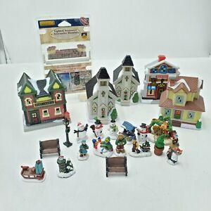 Lot of Miniature Christmas Villages Lemax & Unmarked Figurines Plastic Figures