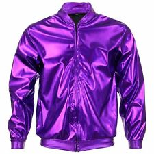 Bomber Jacket Shiny Unisex Ladies Men FIREFLY Sparkly GOLD SILVER RAINBOW ZIP