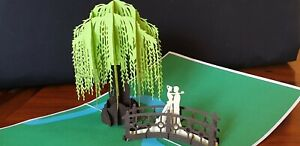 Romantic Couple in a Willows Garden-3D Pop Up Card(Engagement, Wedding, Annivers