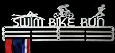 Medal Hanger/Holder/Display/Rack/Hook- SWIM BIKE RUN SILVER STEEL-STORE 36 MEDAL