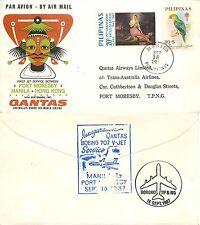 837 - Filippine - Pappagallo su busta Volo Qantas da Manila a Port Moresby, 1967