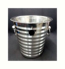 Stainless Steel Champagne Ice Bucket  Banded Tool Touch Design Ring Handles