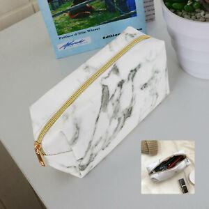 Large Golden Zipper Pencil Case Marble Patterns Pen Bags Makeup Storage Tool UK