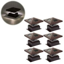 Garden Outdoor Solar Post Top Light Deck Cap LED Lamp Fence Bronze 4x4 6pcs -NEW